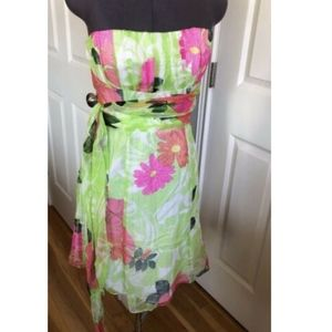Nanette Lepore Floral Strapless Silk Blend Dress 4
